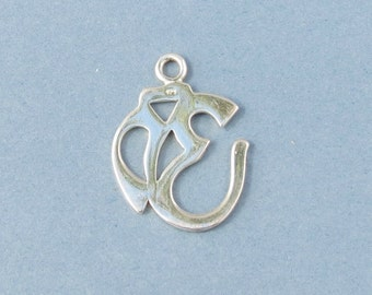 Sterling Silver - Om Pendant - Ohm Silver Charm - 18x21mm - Sold Per Piece
