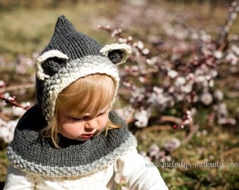 Hooded Cowl Knit Pattern - Baby Bear Hooded Cowl Knitting Pattern - Baby Raccoon Pattern - Baby Knitting Pattern - Baby Animal Hat Pattern