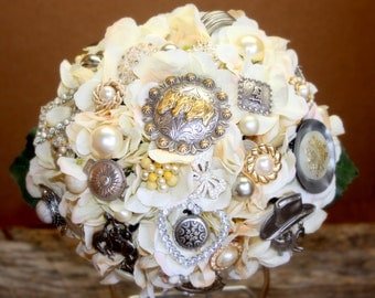 Country Western wedding brooch bouquet, Deposit only
