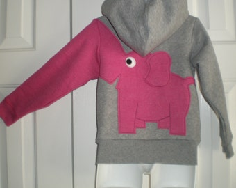 Toddler girls zip front hoodie, hooded sweatshirt, gray with dark pink elephant trunk sleeve, elephant shirt, 4T