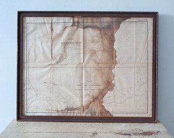Antique 1874 Framed Map Plan of Kaministiquia River, Lake Ellen, Nipigon Bay by Admiral Henry Wolsey Bayfield for Canadian Pacific Railway