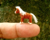 Brown Horse - Micro Amigurumi Miniature Crochet Tiny Stuffed Animal - Made To Order