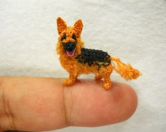 German Shepherd - Tiny Crochet Miniature Dog Stuffed Animals - Made To Order