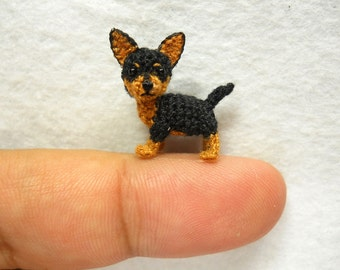 Black Brown Chihuahua Dog - Amigurumi Crochet Tiny Dog Stuff Animal - Made to Order