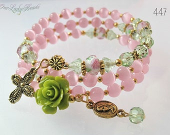 Rosary Bracelet,Pink Rosary Wrap Bracelet,Confirmation,First Communion,Victorian,Religious Jewelry,Catholic,Bridal, Wedding,#447