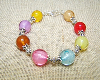 Colorful beaded bracelet foil lined acrylic bracelet