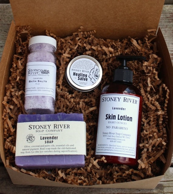 Pampering Spa  Gift Box, natural  soap, handcrafted  lotion, lavender healing salve, bath salts