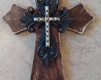 Rustic Cross 8 x 5.5 Inch Wood Cross Scalloped Cross Wall Decor Decorative Cross