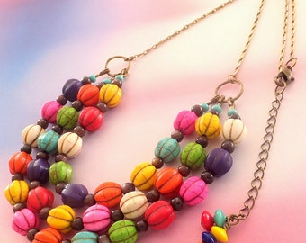 Carnivale Howlite Bead Multicolor Necklace, Multistrand Necklace, Summer Necklace, FREE US SHIPPING