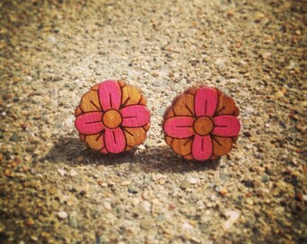 Pink Hand Painted Wood Flower Stud Earrings