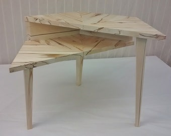 Spalted Aspen Tiered Offset Hexagonal Table