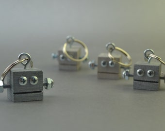 Silver Robot Key Chain, Zipper pull, Functional Art, Back to School