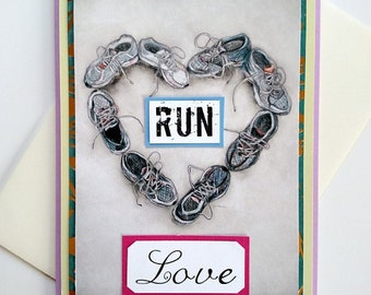 Run Love Handmade Running Shoe Heart Greeting Card for Runners - Love, Anniversary, Thinking of You, Engagement, Wedding, Marathon, 13.1