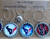 Set of 6 Houston Texans inspired wine glass charms for the wine lover in your life....