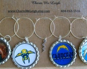 San Diego Chargers inspired wine glass charms for the wine lover in your life.... Includes cute silver lightning bolt charm