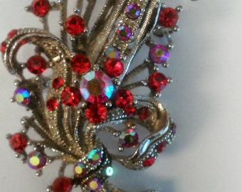 Vintage Red Ruby AB Aurora Borealis on Silver Plated Brooch 1950s costume jewelry