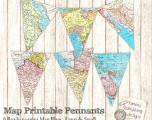 Map Banner Bunting *Map Party Pennant Flags* printable map garland, travel decor, graduation, wedding, birthday, baby shower, places you go