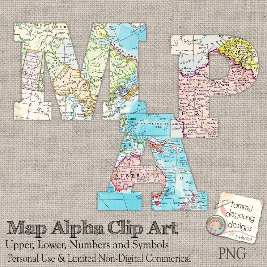 Map Letters Clip Art, World Map Digital Alphabet Letters
