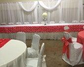 Custom Made Coral  Rosette Skirting Band for 16 ft Head Table