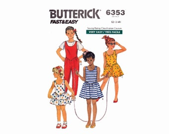 Dress and Jumpsuit for Children 1980s Sewing Pattern stretch knits Sizes 2 3 4 Butterick 6353 Fast & Easy Pattern summer romper mini dress