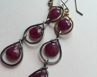 Ruby beads with silver and gold-filled wire - wire wrapped earrings / dangle earrings