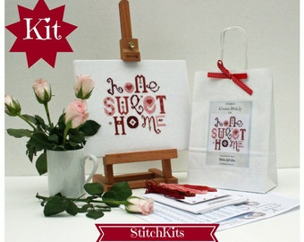 Cross Stitch Kit. Home Sweet Home, Modern Cross Stitch Design. DIY kit.  Red and Pink. By Ruth Caig