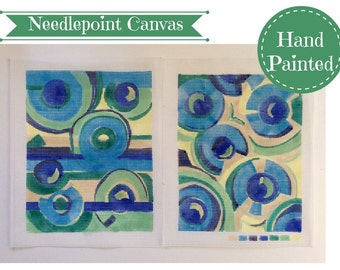 Hand Painted Needle Point Canvas, Two Abstract Art Tapestry Canvas, Green & Blue