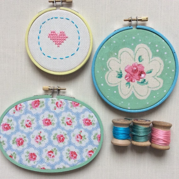 Embroidery hoop set of three hand painted frames