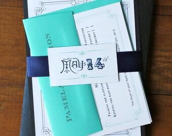 "Navy Blue and Aqua Wedding Invitations, Vintage Modern Invitation - ""Whimsy Elegance Aqua and Navy Blue"" Deposit"
