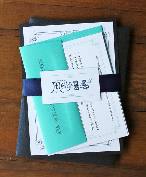 Navy Blue and Aqua Wedding Invitations, Vintage Modern Invitation ...