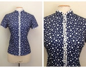 1950s Blouse Shirt Jacket 50s Mid Century Polka Dot Jacket Bust 36 38 40 Chinese style collar
