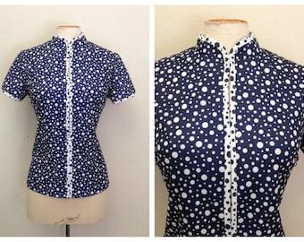 1950s Blouse Shirt Jacket 50s Mid Century Polka Dot Jacket Bust 36 38 40 Chinese style collar