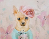 Glamour Chihuahua Art, Chihuahua Art Print Dog painting Dog picture turquoise cocktail dress animal painting wall decor wall art hanging