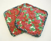 Christmas Red Poinsettias  - Pair of Quilted Fabric Pot Holders