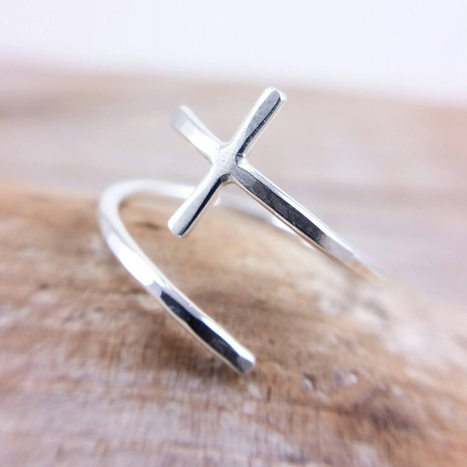 sideways cross ring adjustable sterling silver sideways