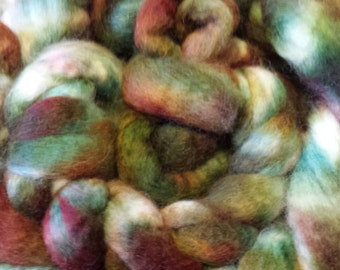 Hand dyed BFL roving for spinning or felting 6 oz