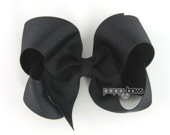 Girls Hair Bows - black hair bow - 4 inch hair bows - big hair bows - boutique bows - large hair bows hairbows - toddler hair bows non slip