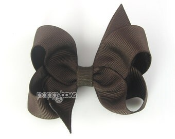 Brown Hair Bow - Baby Toddler Girl - Solid Color 3 Inch Boutique Bow on Alligator Clip Barrette