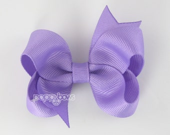 Purple Hair Bow - Baby Toddler Girl - Solid Color 3 Inch Boutique Bow on Alligator Clip Barrette