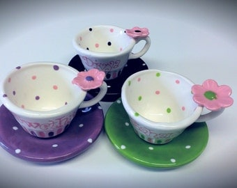 Personalized polka dot childs tea cup