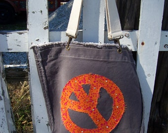 Peace Appliqued Tote with Bling