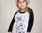 I am His 3/4 sleeves - girls graphic baseball tee - 2t to 6
