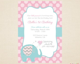 Little Elephant Birthday Invitation, Little Peanut Birthday Invitation, 1st Birthday Invitation, Pink & Aquaby The Party Paper Fairy