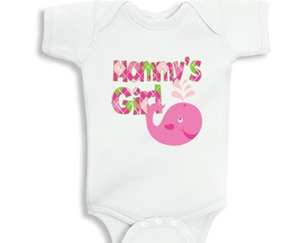 Mommy's Girl with Pinky the Whale baby Girl bodysuit or baby shirt