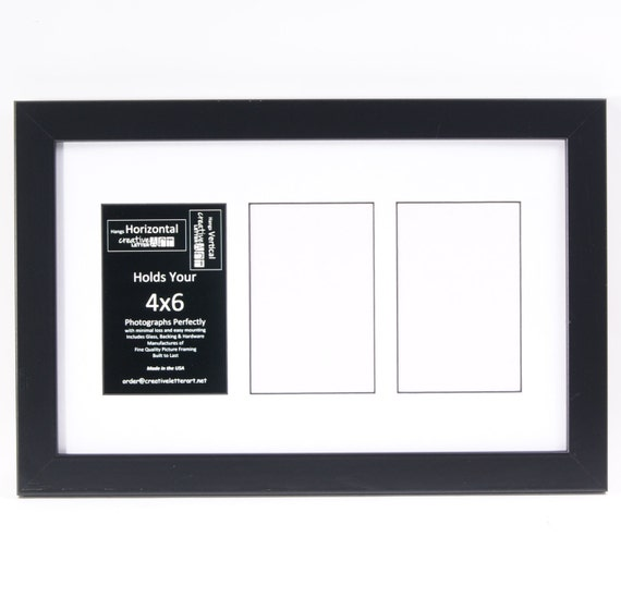 Multi 3 4 5 6 7 9 10 11 Opening Black Picture Frame with Mat to hold 4x6 photographs for Wedding, Personalized Name, Special Word or Collage