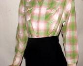 Vintage Cowgirl. 1950s 60s Rockabilly Pearl Snap Shirt. Rockabilly. Western. Loop Collar. Sanforized. 38