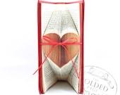 Small Folded Heart Book Art - Thin Ribbon