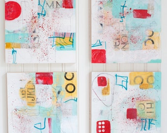 Original, abstract, mixed media, collage, wood panel, aqua, red, yellow white, ready to hang, each 8 x 8