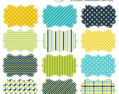 Blue, Yellow, Green Patterned Frame Clipart Set - clip art set of frames, tags, label - personal use, small commercial use, instant download