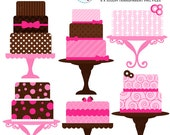 Pink and Brown Cakes Clipart Set - clip art set of cakes, pink cake, brown cake - personal use, small commercial use, instant download